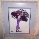 Cross Stitch Finished 1920 30s Woman In Purple Oversized Hat Martini Completed