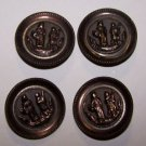 Vintag 4 Buttons Figural Metal Victorian Edwardian Art UpCycle Sew Jewelry RARE
