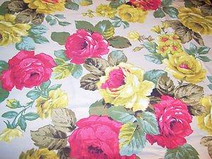 Vintage Fabric Design Cotton Textile Roses Cottage Romantic Prairie 54 x 92