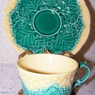 Vintage Wedgwood England Cauliflower Ware Cup Saucer Majolica Styling NICE Find