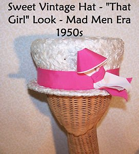 "True Vintage Hat Wedding Bridal Mad Men Era 1950s Pink AWESOME 21.5"" Inside Band"