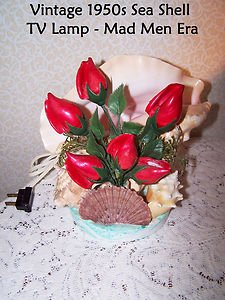 Vintage Mid Century Shell Lamp Conch Red Roses Sea Shell TV Mad Men Works 1950s