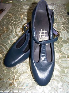Ball Room Dance Shoes TicTacToes Leather Navy T Strap Excellent Condition 9N