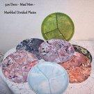 Vintage Plastic Picnic Plates Divided Marbled Retro Mid Century Deco Mad Men 50s