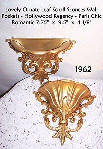 Wall Pockets Vintage 2pcs Dart HOMCO Elegant Regency Paris Chic Romantic Prairie