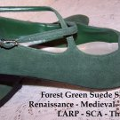 Vintage Shoes Renaissance Festival LARP Theater GreenSuede SCA NEW 10M