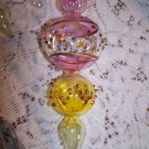 "Glass Ornaments Handmade Lovely & Unique Shape Colors Elegant Vintage 7 ""  3pcs"