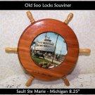 Michigan Soo Locks Souvenir Photo in Ships Wheel MI Decor Nautical Beach Cottage