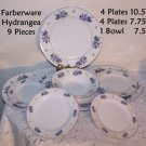 "Farberware Hydrangea 9 pieces = 4 Plates 10.5"" - 4 Plates 7.75"" - 1 Bowl 7.5"""