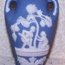 Vintage Vases 2 Wedgwood Style Blue Color Occupied Japan Jasperware Romantic