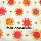 Vintage Fabric Cotton 1960s 70s Unused Retro Hippie MOD Design Cotton Yardage
