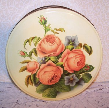 Vintage Tin Metal Original Paper Pic Cookies Romantic Prairie Country Roses Chic