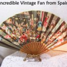 Vintage Fan Spain Bridal Wedding Romantic Spanish Cabaret Scene BoHo Decor Art