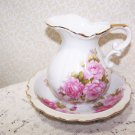 Vintage Pitcher w Bowl Roses Romantic Prairie Country Chic Victorian Cottage