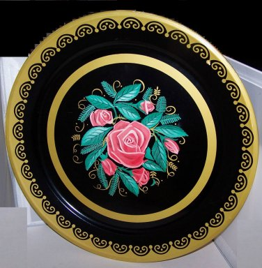 Metal Tray Roses Fabulous Gold Accent ExCond Large 19� Vin Romantic Chic Cottage