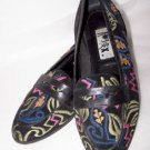 Shoes Kitten Flats Pumps Skimmers Embroidery Design Abstrax Vintage 9M