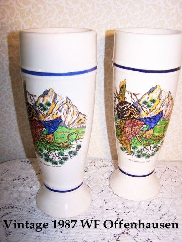Breweriana Beer Pottery Glasses Vintage 1987 WF Offenhausen Brewery Bar Germany