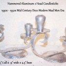 Hammered Aluminum Candlesticks Vintage Mid Century MOD Deco Mad Men Styling L@@K