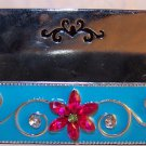 Busines Card Holder Desk Counter Vintage Style Pink & Turquoise Silver Base NEW
