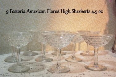 9 Fostoria American Tall Sherbert 4.5oz  Multiple Discount  wOther Pieces Listed