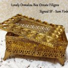 Sam Fink Filigree Ormolu Jewel Box Hollywood Regency Romantic Prairie Paris Chic