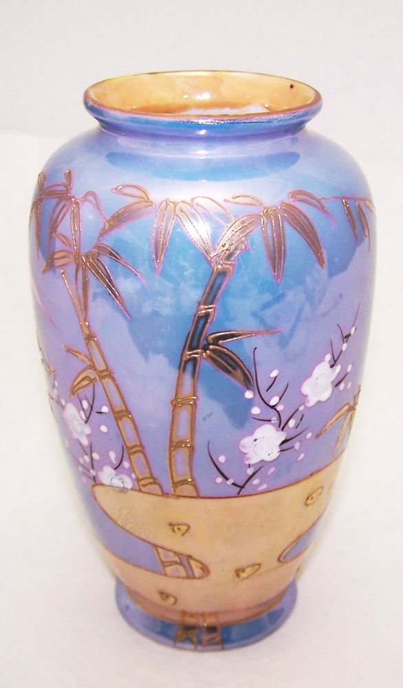 lustre ware vase vintage 1940s japan mountains bamboo plum. Black Bedroom Furniture Sets. Home Design Ideas