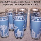 Drink Glasses 5 Hellenic Blue Jasperware Jeanette Vintage Grecian Greece NICE