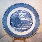 Currier & Ives Getting Ice BLUE Vintage Round Platter Chop Royal Cottage Chic Lg
