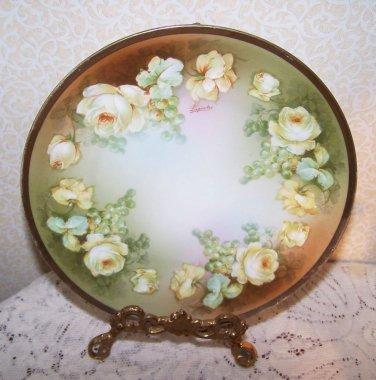 Yellow Roses Plate Grapes Antique Bavaria O E G Royal Guthrez Authentic Laporteg