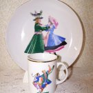 Favolina Plate & Cup Polish Dancer Kujawiak Poland Vintage Folk Art Cottage Chic