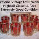 Lotus Woman Glasses w Rack Siam Thai Vinta Auntie Mame Mad Men Retro Mid Century