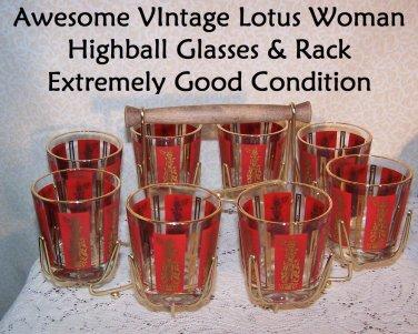Lotus Woman Glasses w Rack Siam Thai Vinta Auntie Mame Mad Men Retro Mid Century