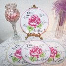 Plates PINK Love Roses Bride Sweetheart Tea Time Birthday Anniversary SpecOcc4pc