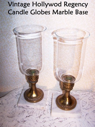 Candle Holders Vintage Marble Base Ornate Brass Glass Shades Hollywood Regency