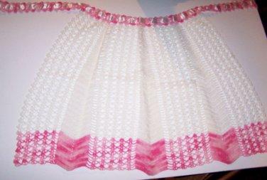 Apron Pink White Crochet 40s 50s Mad Men Romantic Prairie LARP Maid Fetish Costu