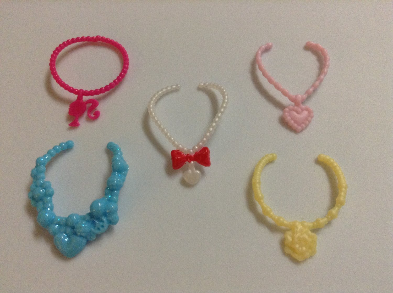 5 Colored Plastic Barbie Necklaces
