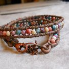 Two  layer beaded Leather Wrap