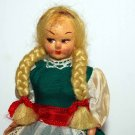 Vintage Ethnic Doll Blonde Hair in Green Dress with Apron
