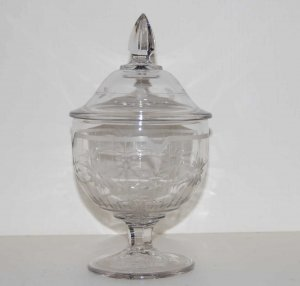 Vintage Wheel Cut Glass Candy Dish