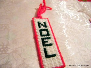 Red, Green, and White Plastic Canvas Noel Bookmark