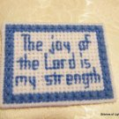 Blue and White Plastic Canvas Bible Verse Magnet The Joy of the Lord..