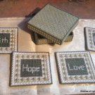 Plastic Canvas Faith, Hope, Love, Grace Coasters in Box
