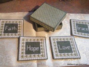 Plastic Canvas Faith, Hope, Love, Grace Coasters in Box