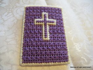 Purple and Yellow Plastic Canvas Christian Phone/ Camera Case