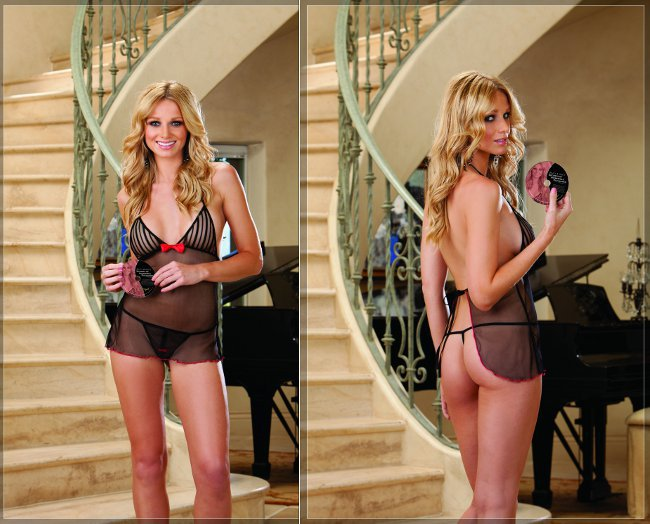 """Dreamgirl"" - Stretch Mesh Babydoll w/Matching G-String and DVD"