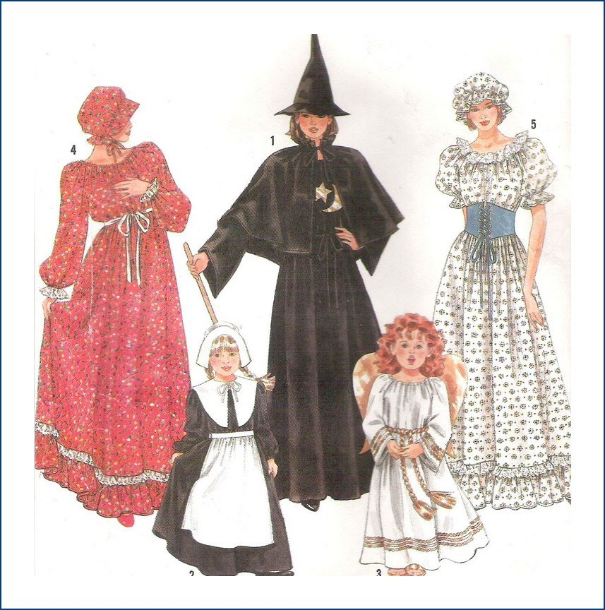 Simplicity 9809 Costume Sewing Pattern Adult Witch Colonial Dress Size 6-20 Uncut