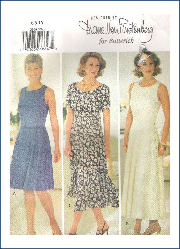 Butterick 3306 Pattern Misses Diane Von Furstenberg Dress Size  6 8 10 Uncut