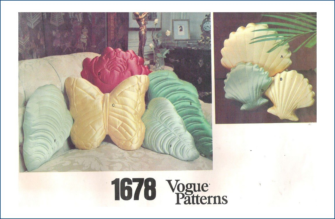 Vogue 1678 SeaShell Butterfly Pillows Uncut