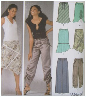 Simplicity Sewing Pattern 5256 Misses Pull On Pants Bias Skirt Uncut Size 12 14 16 18