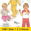 Simplicity 5398 Vintage Pattern Toddler's Top Pants Shorts Knit Size 1 2 3 Uncut